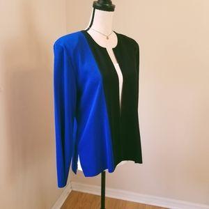 Misook blue black open front cardigan XL 12 14